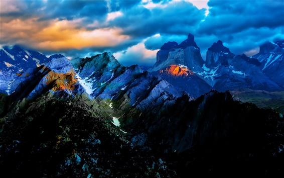 Wallpaper Blue sky clouds, sunset, mountains, nature