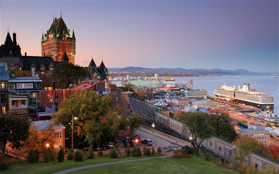 Wallpaper Canada, Quebec, harbor, city, house, dusk