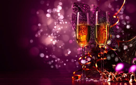 Wallpaper Celebrate, Christmas, champagne, decorations, purple style
