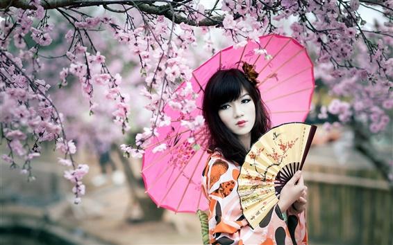 Wallpaper Cherry blossoms, kimono girl, umbrella, fan