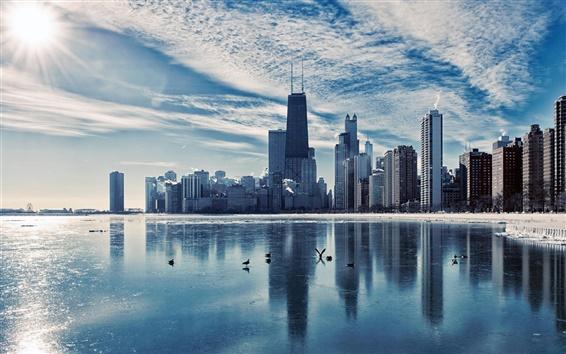 Fond d'écran Chicago, Illinois, ville paysage, rivière, gratte-ciel, crépuscule, hiver, glace