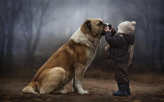 Wallpaper Child with dog, friendship