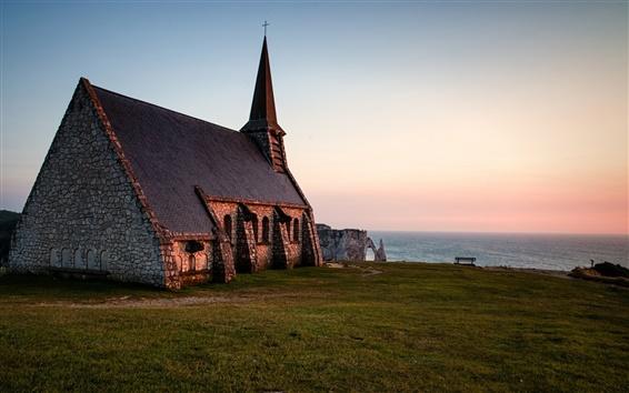 Fond d'écran Eglise, Normandie, France, le soir, la mer, l'horizon