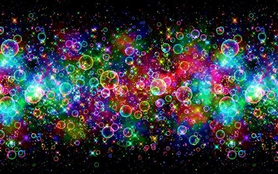 壁紙 カラフルな泡、美しい、虹、抽象的な