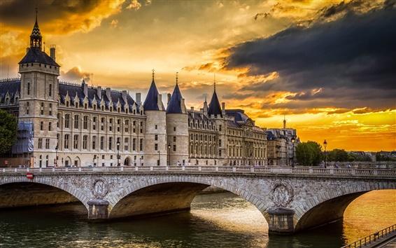 Wallpaper Conciergerie, Paris, France, bridge, river, sky, clouds, sunset