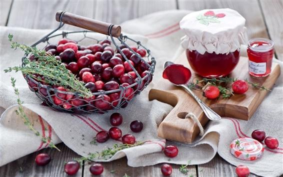 Wallpaper Cranberries, berries, red, jam, jar, spoon, still life