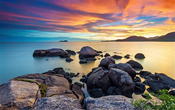 Fond d'écran Aube, ciel, matin, mer, des pierres, le lever du soleil