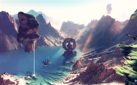 Wallpaper Desktopography art landscape, rendering, ship, coast, endless summer