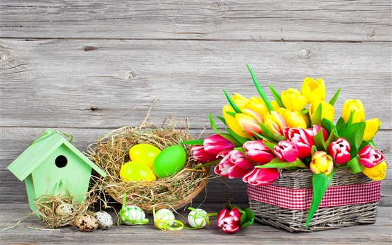Wallpaper Easter, spring, flowers, eggs, colorful, red and yellow tulips