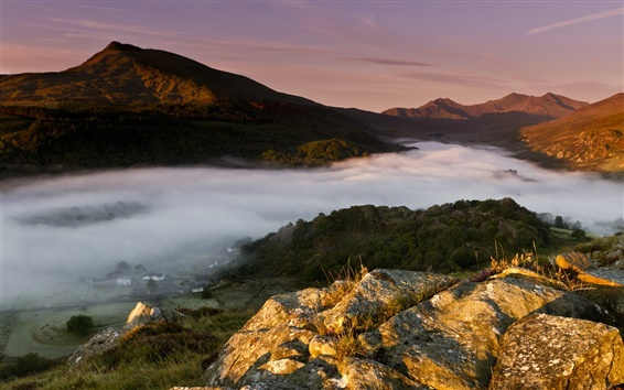 Wallpaper England, United Kingdom, Wales, town, morning, fog, mountains