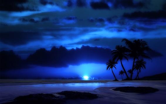 Wallpaper Evening, night, sky, clouds, sea, tropical, palm tree, moon