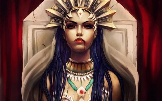 Papéis de Parede Menina da fantasia, cabelo azul, coroa, sangue, fundo vermelho