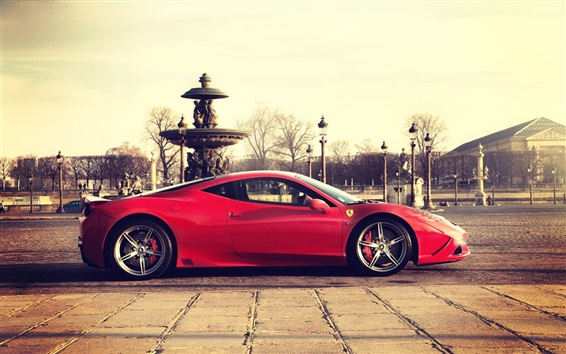 Wallpaper Ferrari 458 Speciale red supercar side view