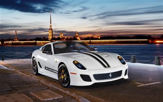 Обои Ferrari 599 GTO 2-местный белый спортивный автомобиль