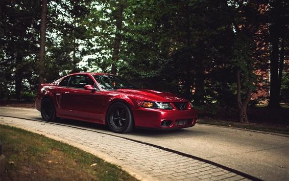 Fond d'écran Ford Mustang Cobra supercar rouge