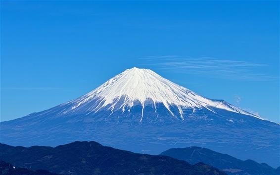 Wallpaper Fuji mountain, sky, blue, Japan landscape