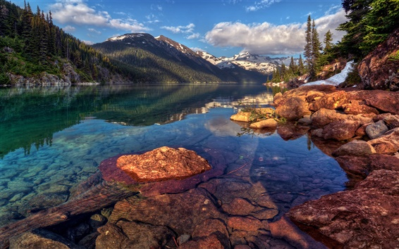 Wallpaper Garibaldi, Canada, nature landscape, mountains, rocks, forest, trees, lake