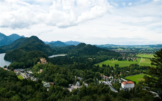 Wallpaper Germany, Bavaria, Fussen, mountain, forest, river, house, castle