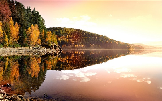 Wallpaper Germany, autumn, nature, sunset, trees, lake, water reflection