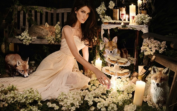 Wallpaper Girl with fox, flowers, candles
