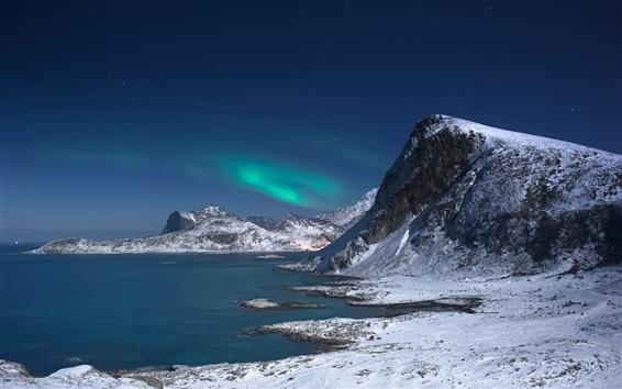 Обои Исландия, лавровый, камни, ночь, северное сияние