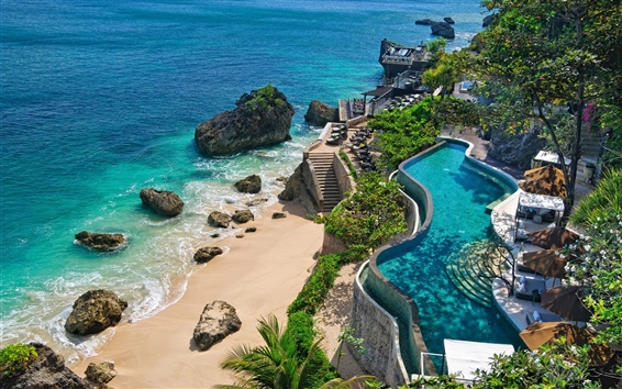 Wallpaper Indonesia, Bali, coast, beach, stones, pools