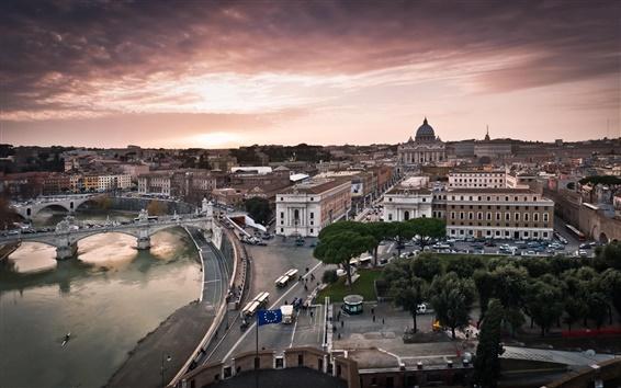 Wallpaper Italy city, Vatican, streets, buildings, houses, river, bridge