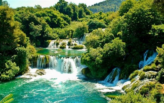 Fond d'écran Parc National de Krka, Croatie, chutes d'eau, des arbres, de la verdure