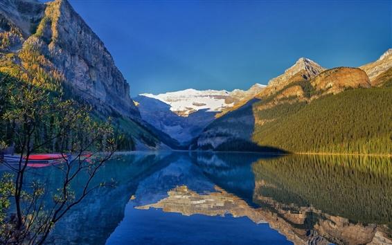Обои Озеро Луиза, Национальный парк Банф, Альберта, Канада, горы, вода отражение