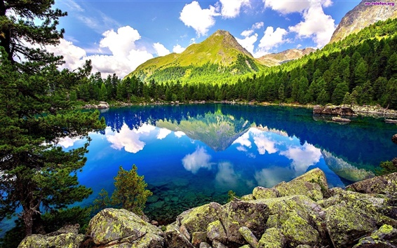 Wallpaper Lake, forest, mountains, rocks, trees, sky, clouds, nature scenery