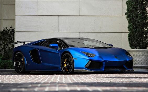 Wallpaper Lamborghini Aventador LP700-4 blue supercar front view