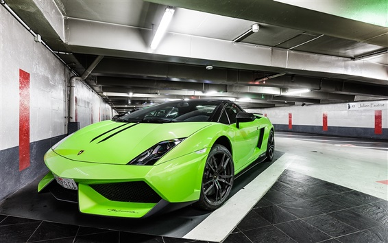 Wallpaper Lamborghini Gallardo LP570-4 Spyder green supercar