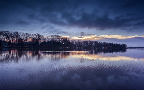 Wallpaper Maryland, USA, evening, river, trees, sky, clouds, reflection