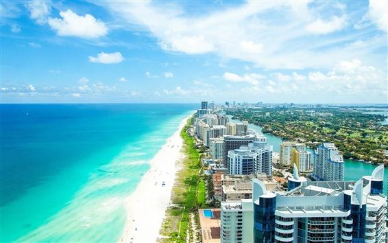 Обои Майами, Флорида, город, лето, пляж, океан, здания