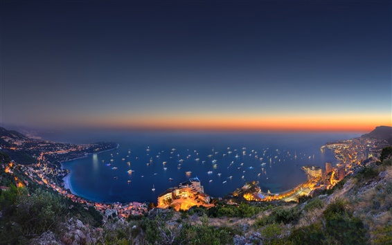 Wallpaper Monaco, city, sea, hill, evening, lights, mountain, boats, house