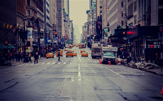 Papéis de Parede Nova York, EUA, arranha-céus, rua, táxi, pessoas