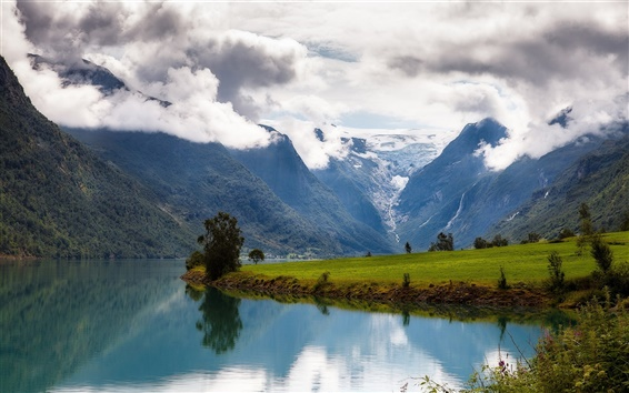 Wallpaper Nordfjord, Norway, mountains, clouds, water