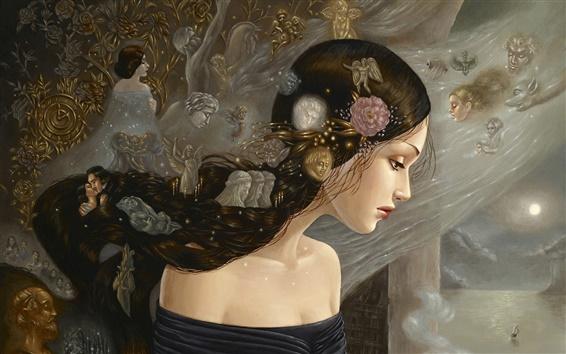 Fond d'écran Peinture fille, fleurs, beau