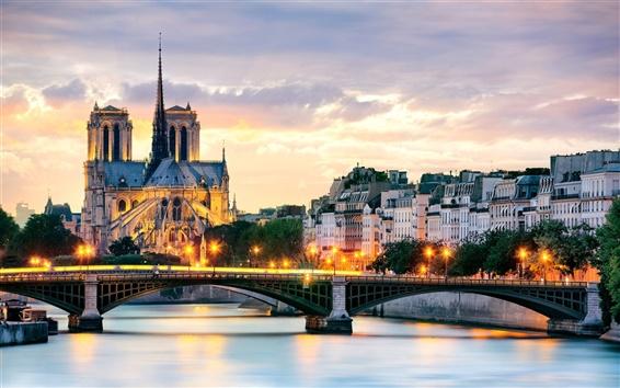 壁紙 パリ、フランス、ノートルダム寺院、橋、ライト、セーヌ川、家
