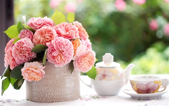 Wallpaper Pink rose flowers, table, cup, tea, blurring