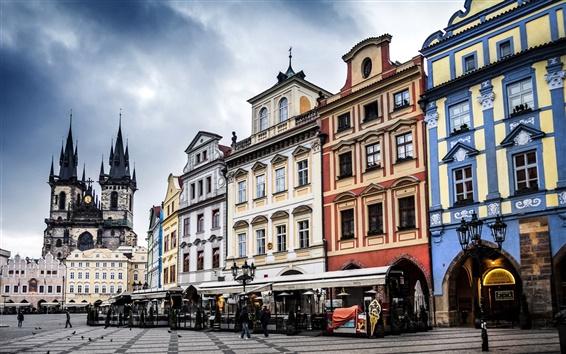 Fond d'écran Prague, tchèque, de la Place de la Vieille Ville, ville, bâtiments, rue