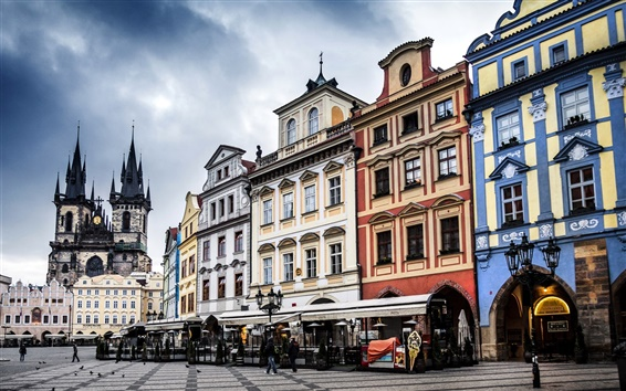 Wallpaper Prague, Czech, the Old Town Square, city, buildings, street