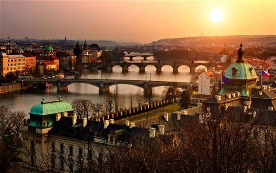 Wallpaper Prague, Old Town, Czech, city, sunset, architecture, bridge, river