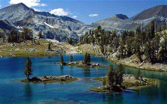 Wallpaper Rocks, mountains, peaks, lake, islands, trees