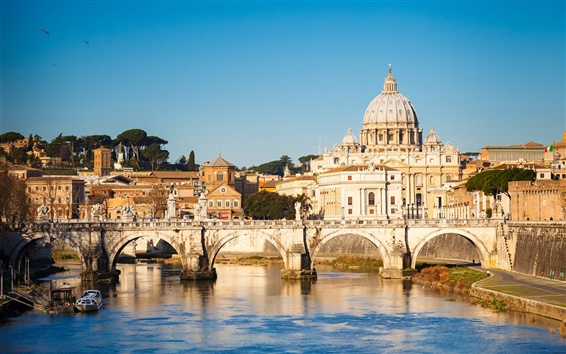 Wallpaper Rome, city, bridge, river, house