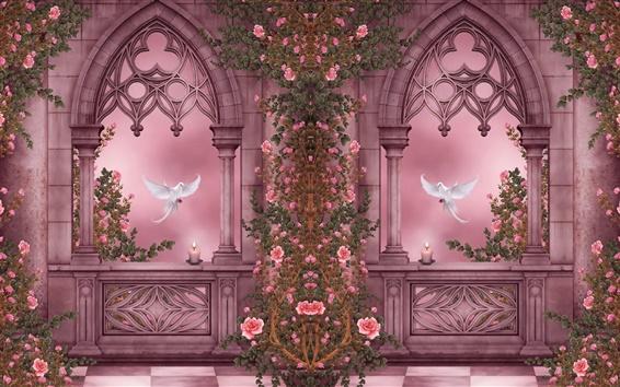 Fondos de pantalla Rose Garden, palomas, rosas, flores, velas, ventanas, cuadros de arte
