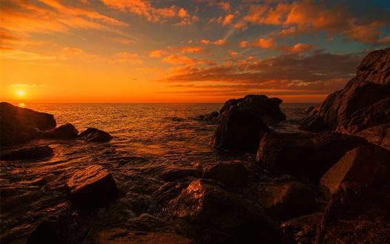 Обои Море, пляж, скалы, закат, сумерки
