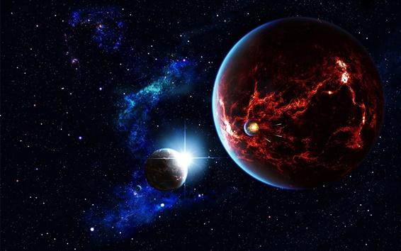 Обои Пространство, звезды, вселенная, планета, спутник, туманность