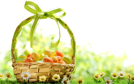 Wallpaper Spring, flowers, Easter eggs, colorful, basket