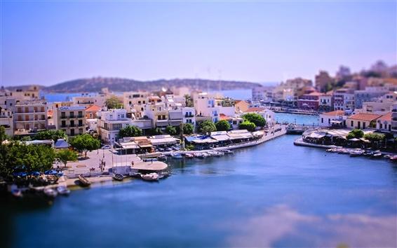 Wallpaper Tilt-shift photography, bay city, Greece, boats, house